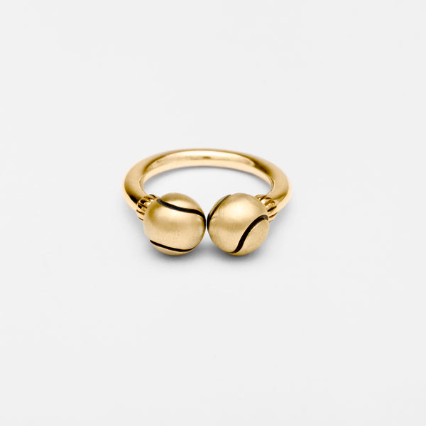 14K Gold Tennis Ball Tube Ring