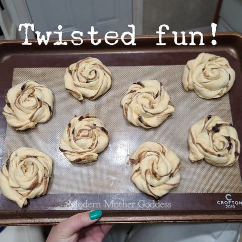 twisted coils of dough ready for the oven