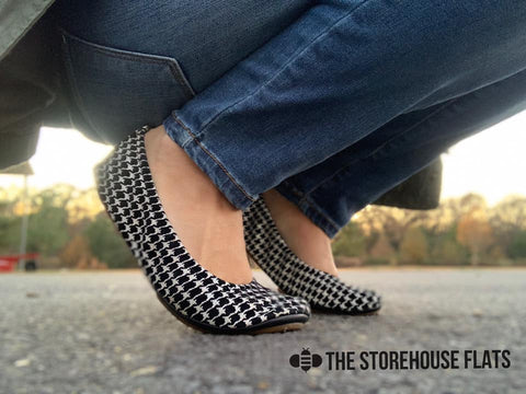 genuine premium leather ballet shoes the storehouse flats houndstooth black and white