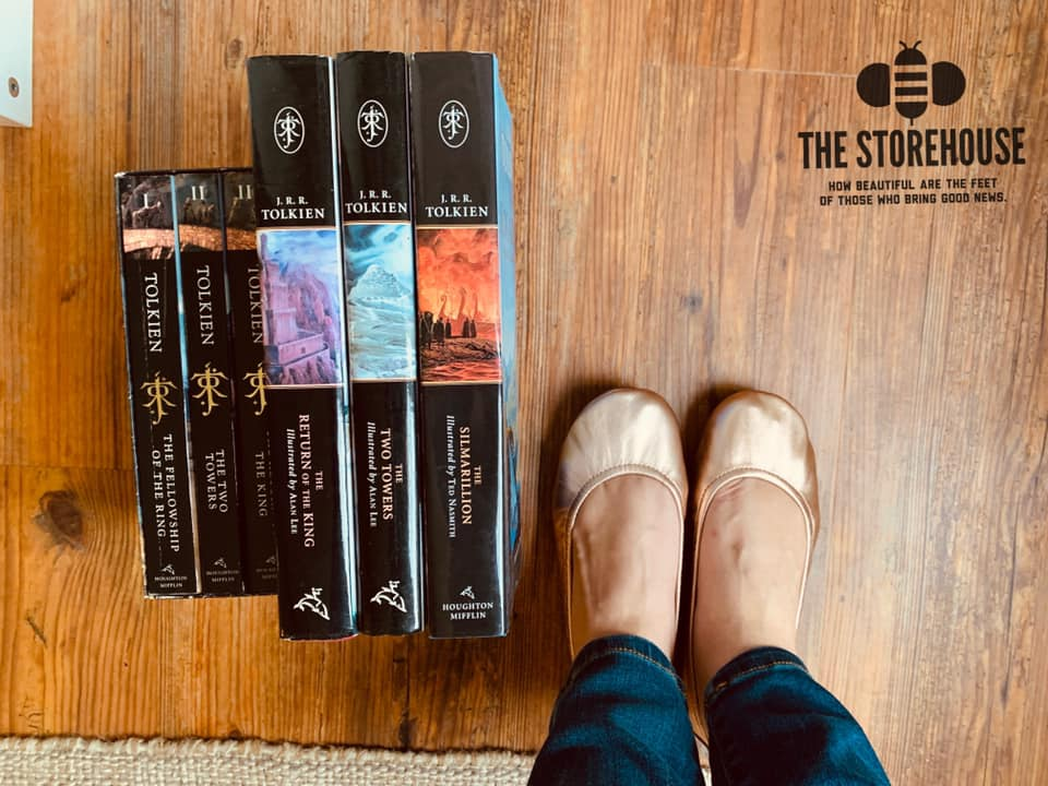 the storehouse leather ballet flat shoes beside tolkien novels