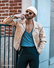 Load image into Gallery viewer, Menswear Outfit Wearing Cream Fisherman Beanie
