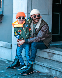 Father & Son Wearing Micro Beanies