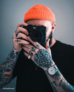 Menswear Blogger @ChadIsRad Wearning Neon Orange Beanie