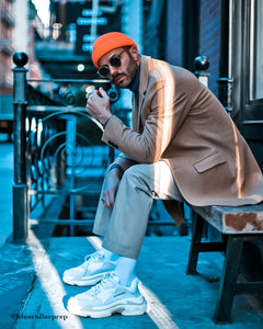 Menswear Blogger Wearing Orange Micro Beanie