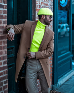 Menswear Outfit With Neon Yellow Beanie