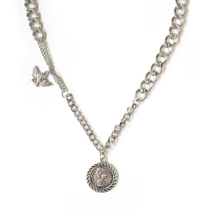 Silver Double Charm Necklace