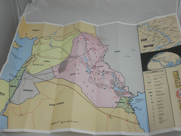 1991 Desert Storm Card and Map Set (110 Cards) 20x31 Color Situation Map + More!