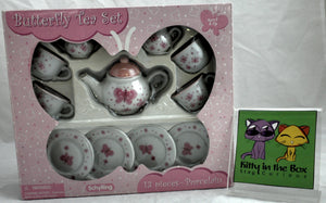 Pink Butterfly Ceramic Tea Set