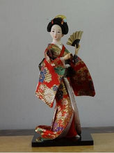 "Load image into Gallery viewer, Japanese style 12"" Geisha doll with elegant silk Kimono  Choose from many styles!"