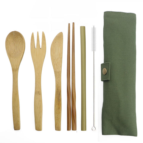 Portable Bamboo cutlery set with cloth pouch