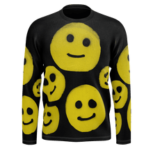 Load image into Gallery viewer, #ArtIt- urban artwear making streetwear out of contemporary art: R. Wolff smiley all over print recycled polyester longsleeve delivered on demand