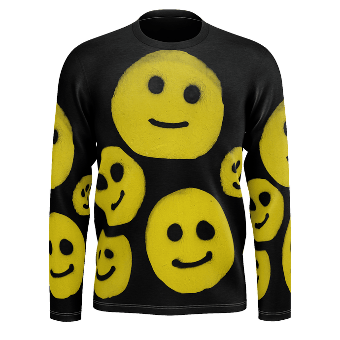 #ArtIt- urban artwear making streetwear out of contemporary art: R. Wolff smiley all over print recycled polyester longsleeve delivered on demand
