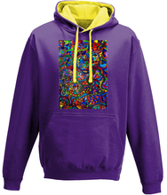 Load image into Gallery viewer, #ArtIt- urban artwear making streetwear out of contemporary art: Jane Indigo purple hoodie delivered print on demand