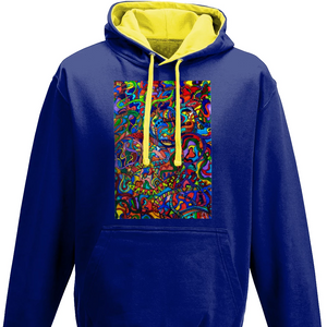 #ArtIt- urban artwear making streetwear out of contemporary art: Jane Indigo blue hoodie delivered print on demand