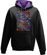 Load image into Gallery viewer, #ArtIt- urban artwear making streetwear out of contemporary art: Jane Indigo black hoodie delivered print on demand