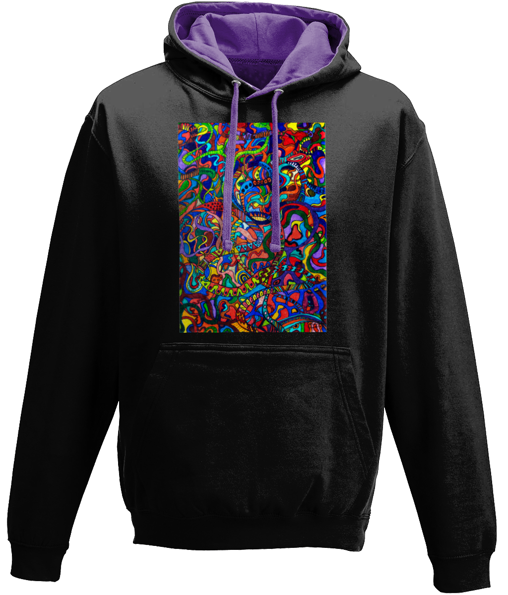 #ArtIt- urban artwear making streetwear out of contemporary art: Jane Indigo black hoodie delivered print on demand