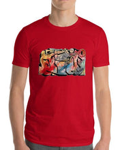 Load image into Gallery viewer, #ArtIt- urban artwear making streetwear out of contemporary art: Emil Ellefsen red cotton tee delivered print on demand