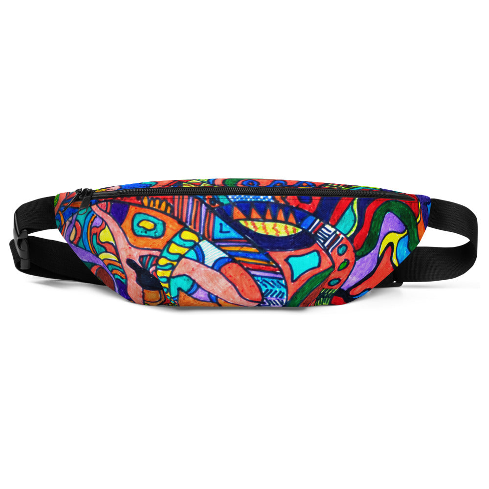 Jane Indigo (NO) all-over print fanny pack for #ArtIt - urban artwear