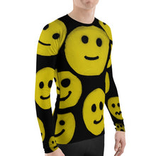 Load image into Gallery viewer, #ArtIt- urban artwear making streetwear out of contemporary art: R. Wolff smiley all over print rash guard longsleeve delivered on demand