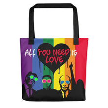 Load image into Gallery viewer, Mr. Kling Trump/Putin/Kim Jong-un All you need is love all over print tote bag from #ArtIt - urban artwear