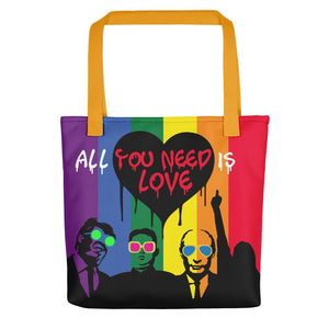 Mr. Kling Trump/Putin/Kim Jong-un All you need is love all over print tote bag from #ArtIt - urban artwear