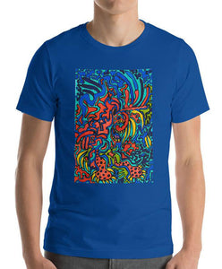 #ArtIt- urban artwear making streetwear out of contemporary art: Jane Indigo blue cotton t-shirt delivered print on demand