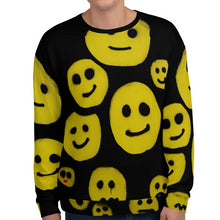 Load image into Gallery viewer, #ArtIt- urban artwear making streetwear out of contemporary art: R. Wolff smiley all over print sweatshirt delivered on demand