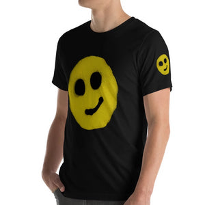 #ArtIt- urban artwear making streetwear out of contemporary art: R. Wolff smiley black cotton tee delivered print on demand
