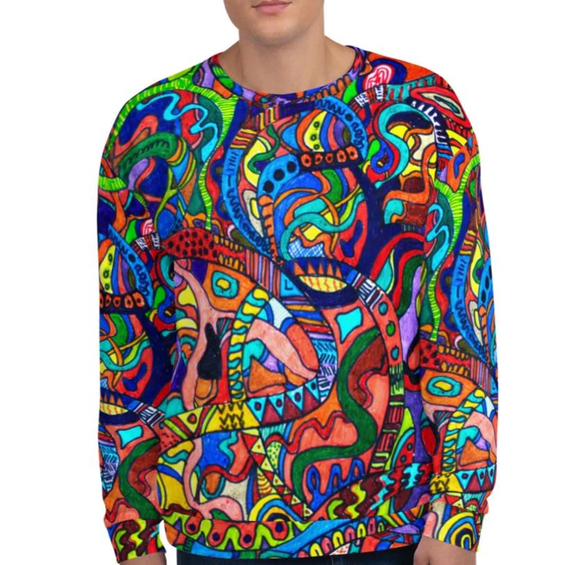 #ArtIt- urban artwear making streetwear out of contemporary art: Jane Indigo all over print sweatshirt delivered on demand