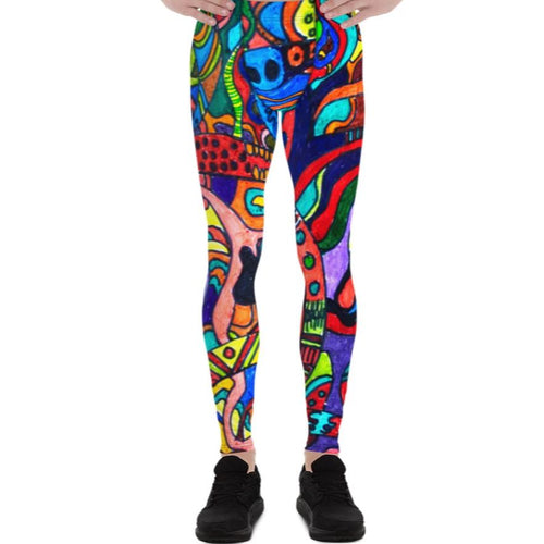 #ArtIt- urban artwear making streetwear out of contemporary art: Jane Indigo all over print leggings delivered on demand