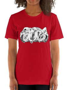 #ArtIt- urban artwear making streetwear out of contemporary art: Emil Ellefsen red cotton tee delivered print on demand