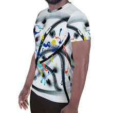Load image into Gallery viewer, French abstract graffiti artist jp.carp all over print mesh t-shirt for #ArtIt - urban artwear