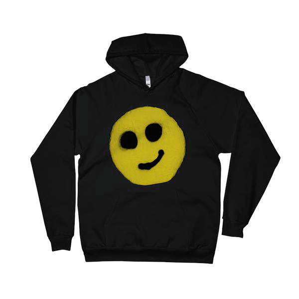 #ArtIt- urban artwear making streetwear out of contemporary art: R. Wolff smiley black cotton hoodie delivered print on demand