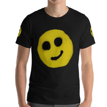 Load image into Gallery viewer, #ArtIt- urban artwear making streetwear out of contemporary art: R. Wolff smiley black cotton tee delivered print on demand