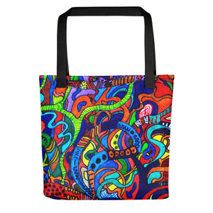 #ArtIt- urban artwear making streetwear out of contemporary art: Jane Indigo all over print shopping bag delivered on demand