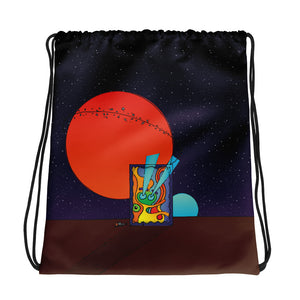 Graphwhale 01 all-over drawstring bag