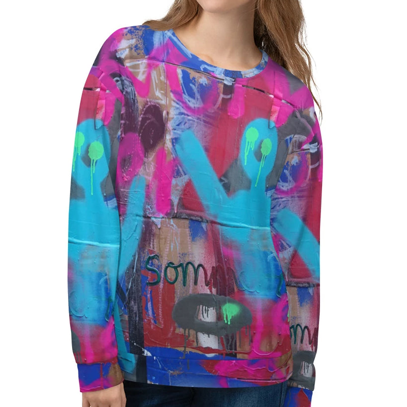 #ArtIt- urban artwear making streetwear out of contemporary art: Luanne May all over print sweatshirt delivered on demand