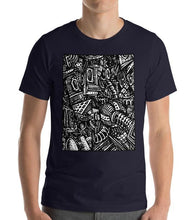 Load image into Gallery viewer, #ArtIt- urban artwear making streetwear out of contemporary art: Emil Ellefsen navy cotton tee delivered print on demand