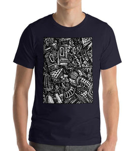 #ArtIt- urban artwear making streetwear out of contemporary art: Emil Ellefsen navy cotton tee delivered print on demand