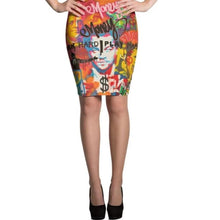 Load image into Gallery viewer, Mr. Kling Money all-over pencil skirt