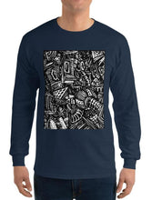 Load image into Gallery viewer, #ArtIt- urban artwear making streetwear out of contemporary art: Emil Ellefsen navy cotton longsleeve delivered print on demand
