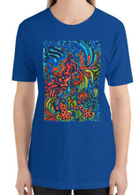 Load image into Gallery viewer, #ArtIt- urban artwear making streetwear out of contemporary art: Jane Indigo blue cotton t-shirt delivered print on demand