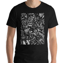 Load image into Gallery viewer, #ArtIt- urban artwear making streetwear out of contemporary art: Emil Ellefsen black cotton tee delivered print on demand