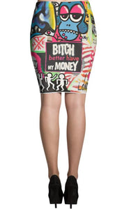 Mr. Kling The Thief all-over pencil skirt