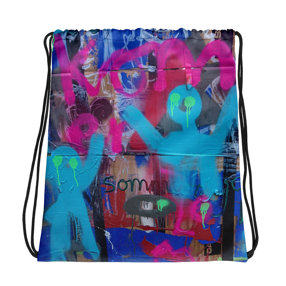 Luanne May Are Friends Electric? II SØ19 all-over drawstring bag