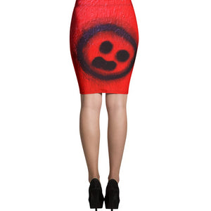 R. Wolff Breakdown smiley SØ19 all-over pencil skirt