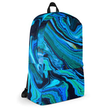 Load image into Gallery viewer, #ArtIt- urban artwear making streetwear out of contemporary art: Jane Indigo all over print backpack delivered on demand