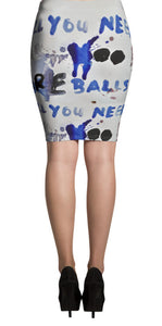 Luanne May All you need are balls all-over pencil skirt
