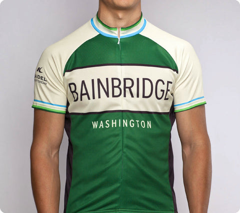 Bainbridge Classic Racer Cycling Jersey Mens Green front