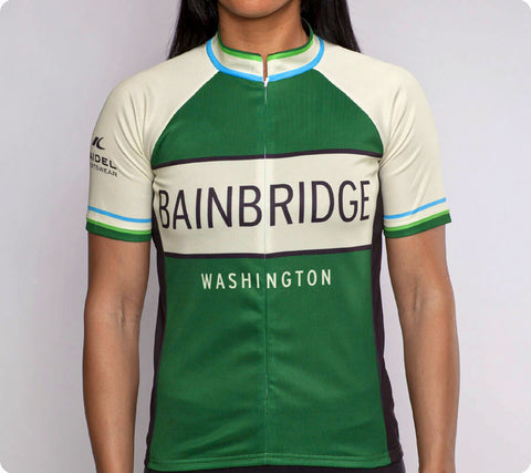 Bainbridge Classic Racer Cycling Jersey Womens Green front